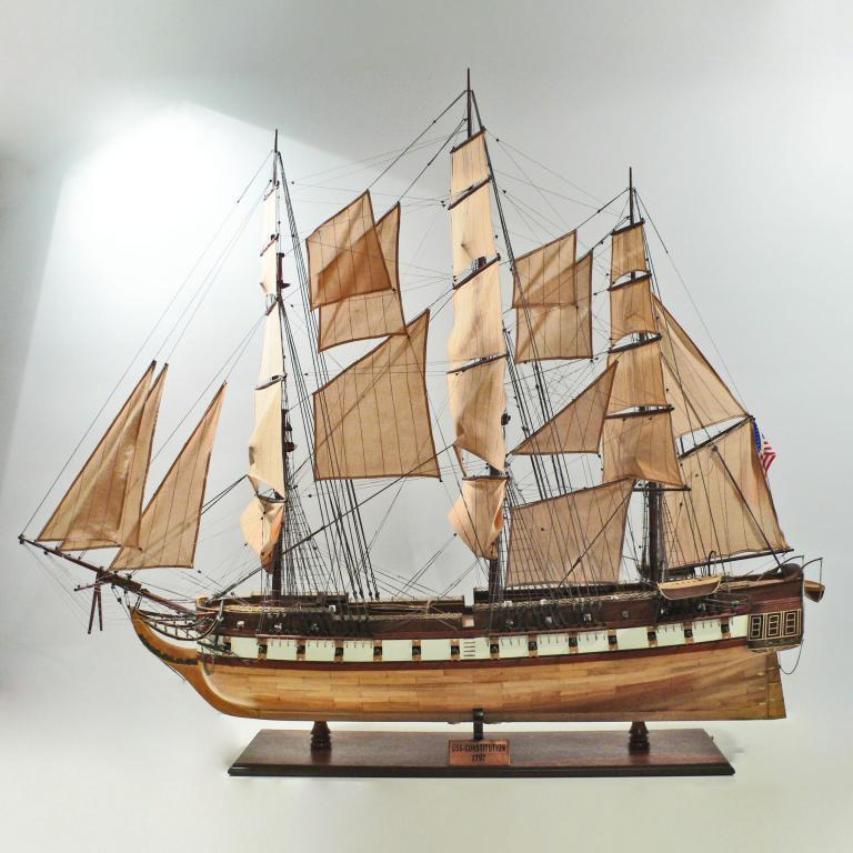 USS Constitution model ship opened sails