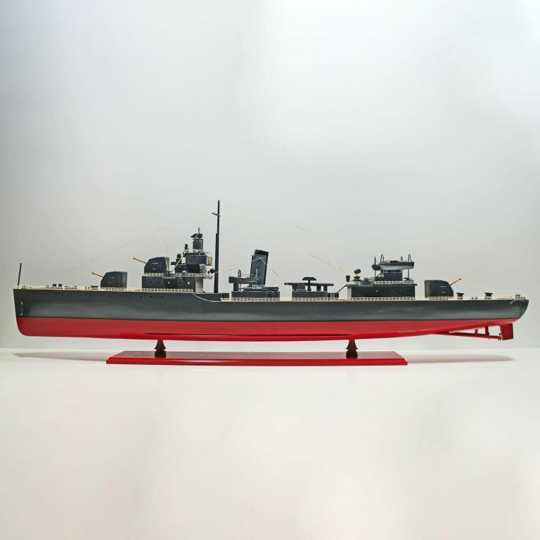 Handcrafted sailing ship model of the USS Sims