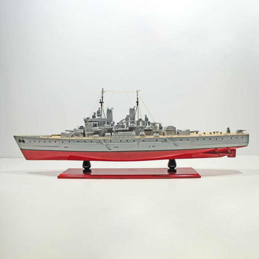 Handcrafted sailing ship model of the USS Vanguard