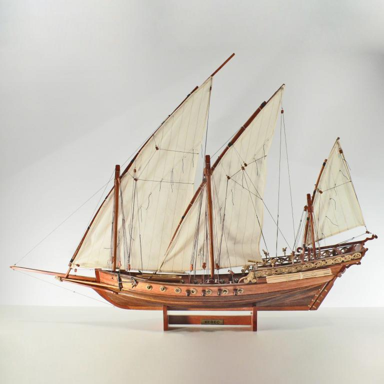 Handcrafted ship model from wood of the Xebec