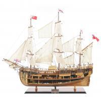 Handmade historical sailing ship model of the HMS Endeavour