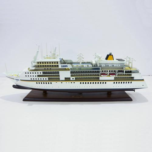 Handcrafted ship model from wood of the MS Europa