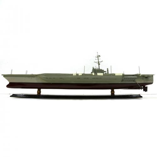 Handmade speed boat model of a aircraft carrier
